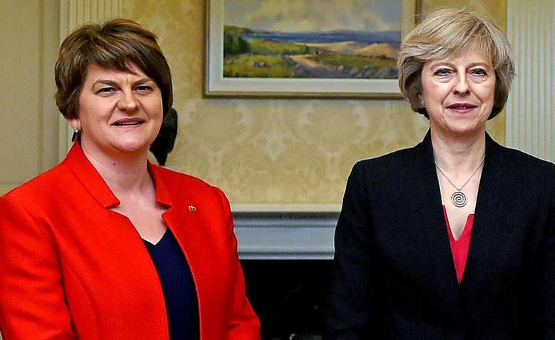 DUP leader Arlene Foster and UK Prime Minister Theresa May. Photo: Tiocfaidh ár lá 1916 / Flickr