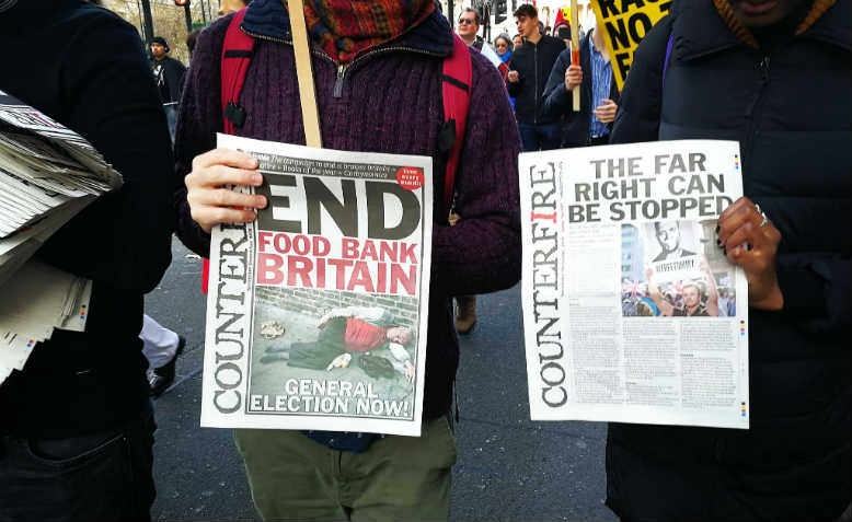 Counterfire paper at the November 17 antiracism demonstration. Photo: Jack Hazeldine