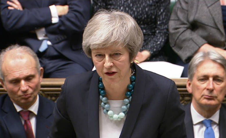 Theresa May's statement to the Commons. Photo: BBC