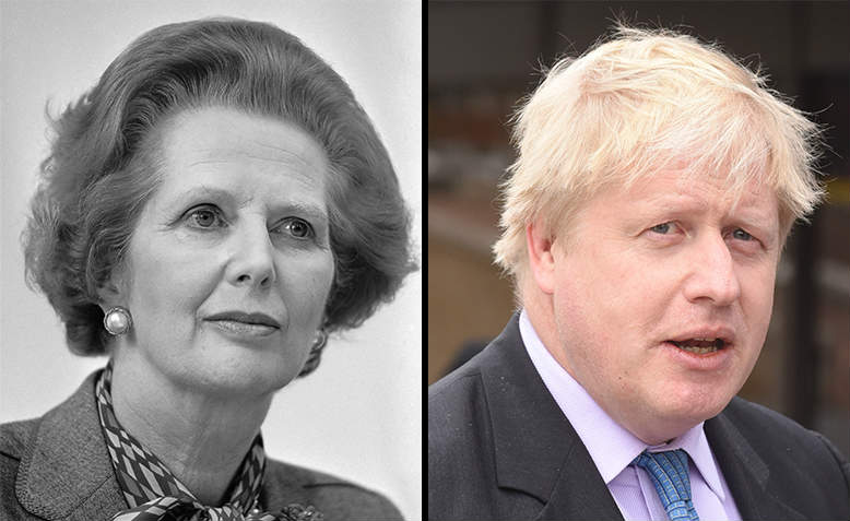 Margaret Thatcher, Boris Johnson. Photos: Wikimedia Commons