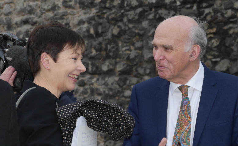 Caroline Lucas, Vince Cable. Photo: Wikimedia Commons