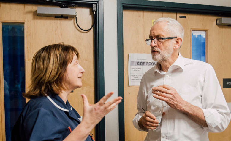 Jeremy Corbyn visiting Crawley Hospital. Photo: Public Domain