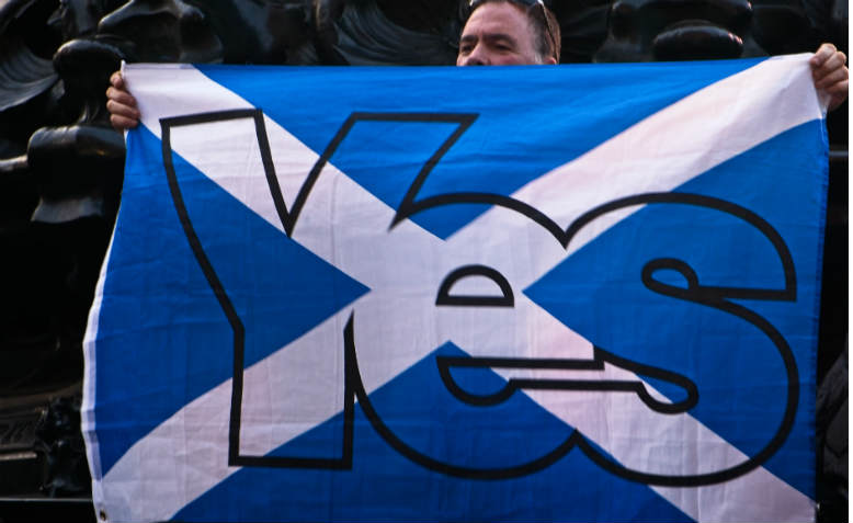 Yes to Scottish independence flag. Photo: Flickr/Garry Knight