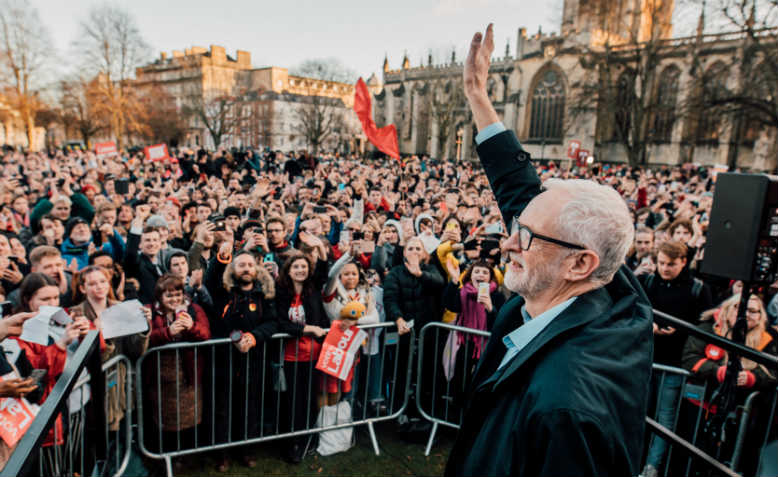 Jeremy Corbyn speaking at the Bristol rally. Photo: Flickr/Jeremy Corbyn