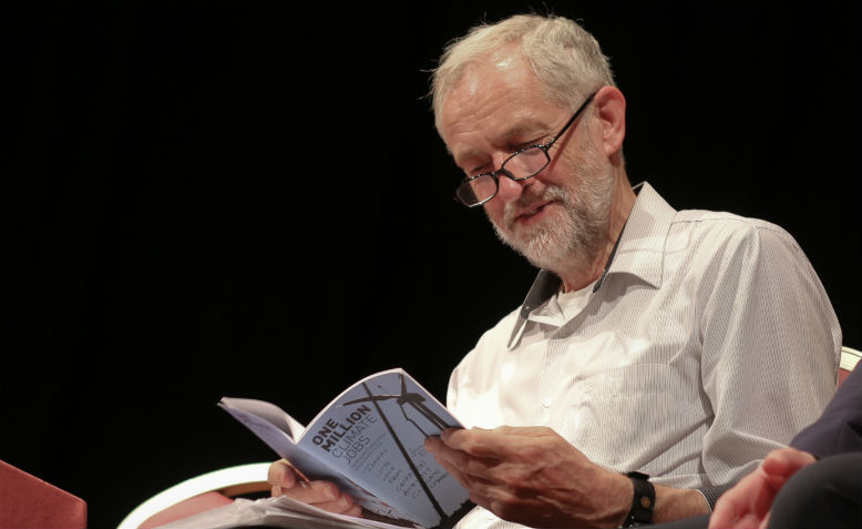 Jeremy Corbyn reading. Photo: Steve Eason