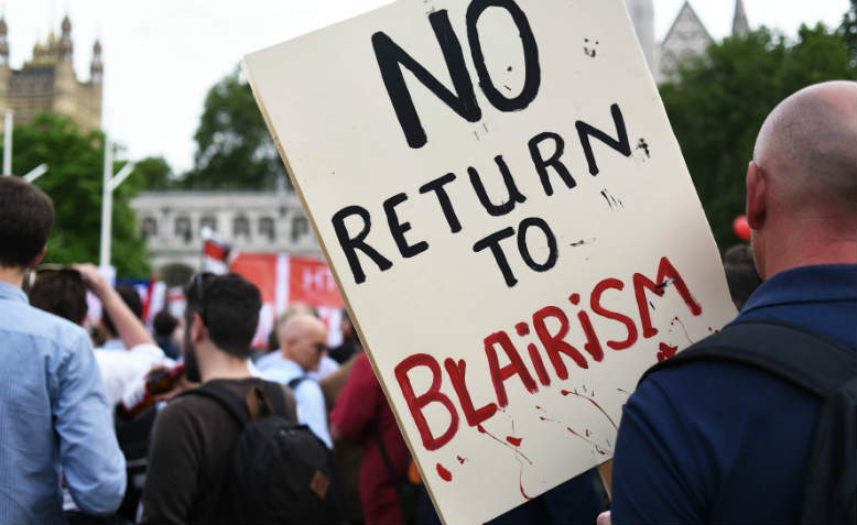 No return to Blairism placard. Photo: Jim Aindow