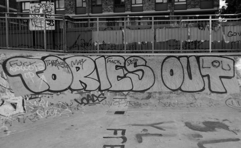 Tories Out graffiti. Photo: Flickr/duncan c