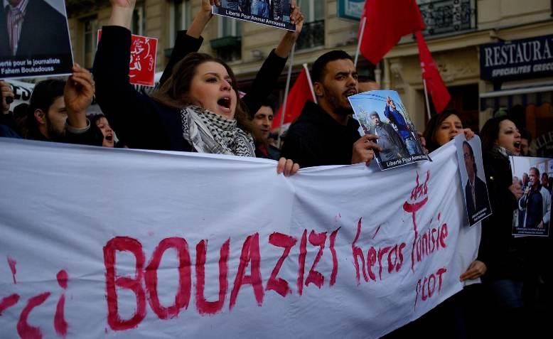 French protest in support of Bouazizi
