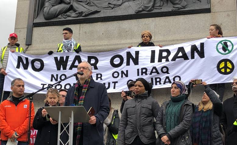 Jeremy Corbyn, No War On Iran demonstration, January 2020