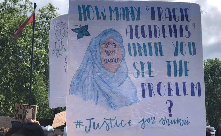 Justice for Shukri placard