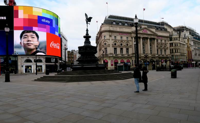 Piccadilly Circus during lockdown