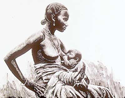 Mother and child in traditional Papua New Guinea