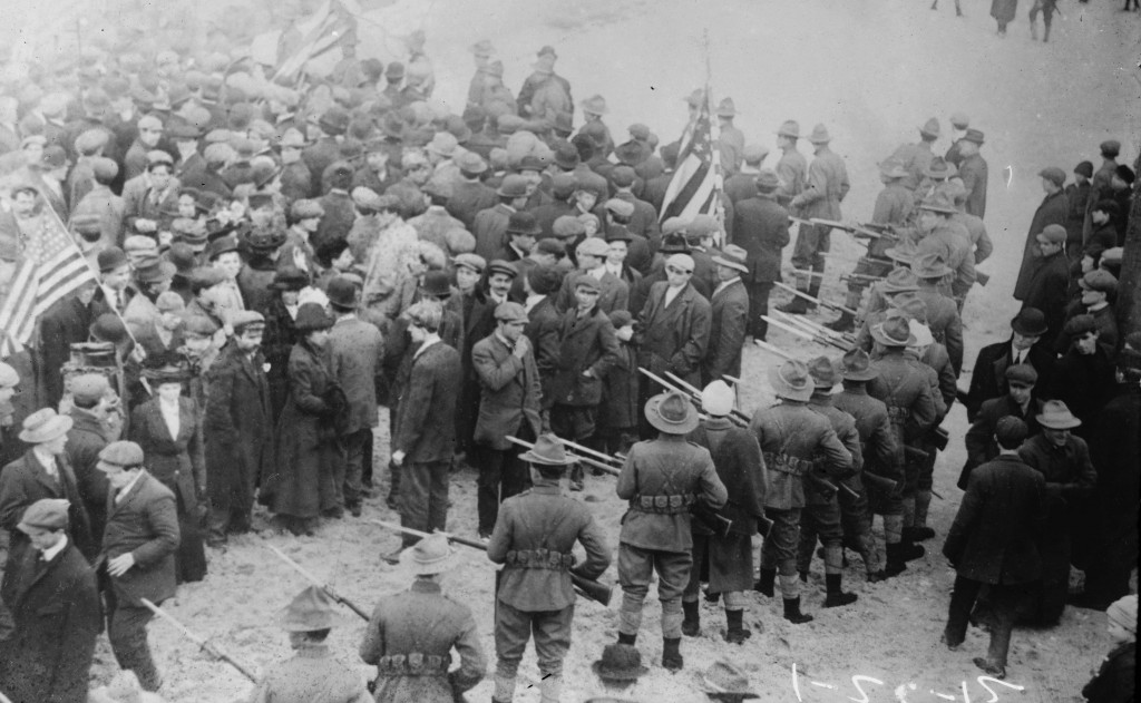 Members of the Massachusetts State Militia approach strikers during 1912 'Bread and Roses' strike at the Lawrence textile mills. Photo: Library of Congress