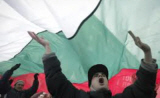 Protestors under the Bulgarian flag