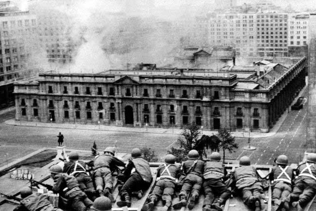 The 1973 coup - the army surrounds the presidential palace in Santiago, the Chilean capital.