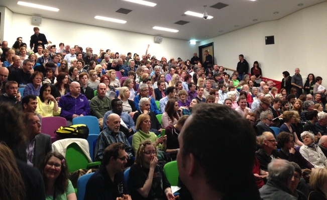 400 pack Sheffield Hallam People's Assembly meeting