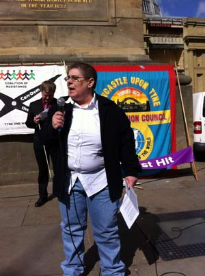 Disability campaigner Gail Ward addresses Saturday's rally