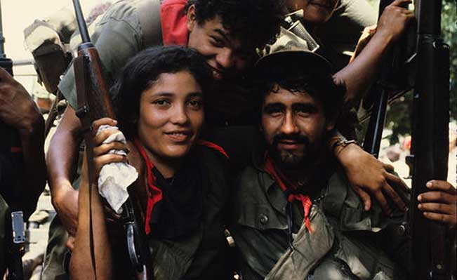 Sandinista fighters celebrate victory