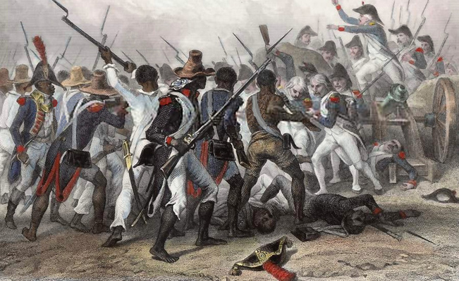 The Haitian slave army battles the soldiers of Napoleon in 1803