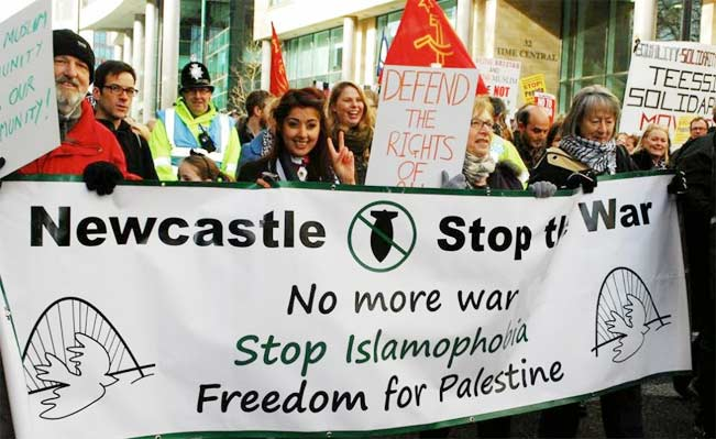 A counter-mobilisation against a march by the anti-Muslim Pegida in Newcastle