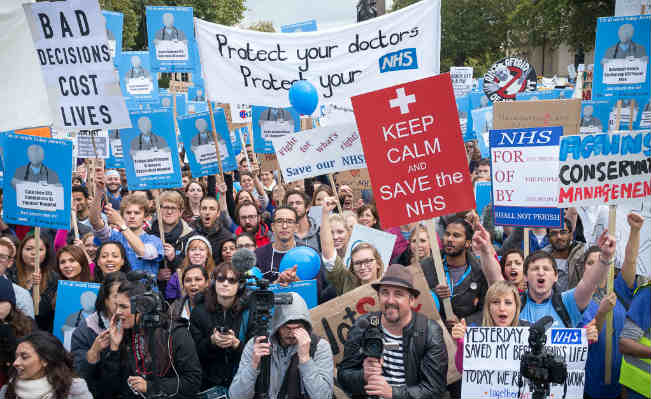 Junior Doctors protest about Jeremy Hunt's proposed changes to their contract. Photo: RonF / Flickr