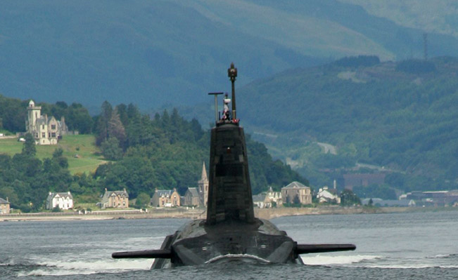 A Trident missile armed 'Vanguard' class ballistic missile submarine leaving its base in the Firth of Clyde. Source: Wikipedia