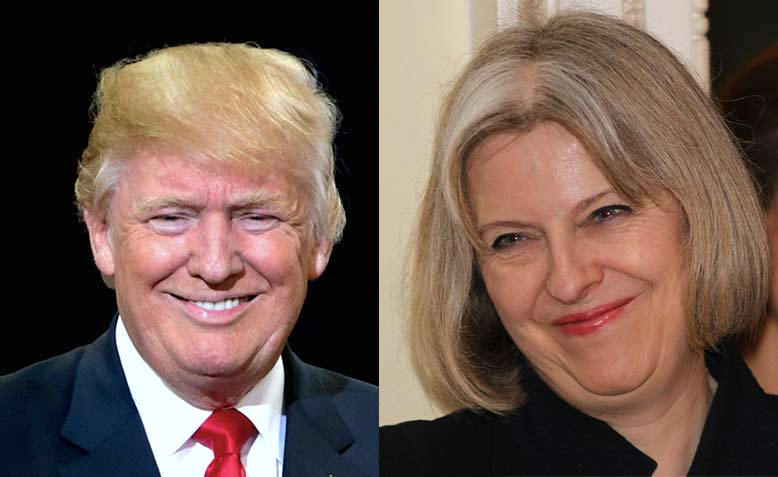 Donald Trump and Theresa May. Photo: Modified from Wikipedia & Flickr