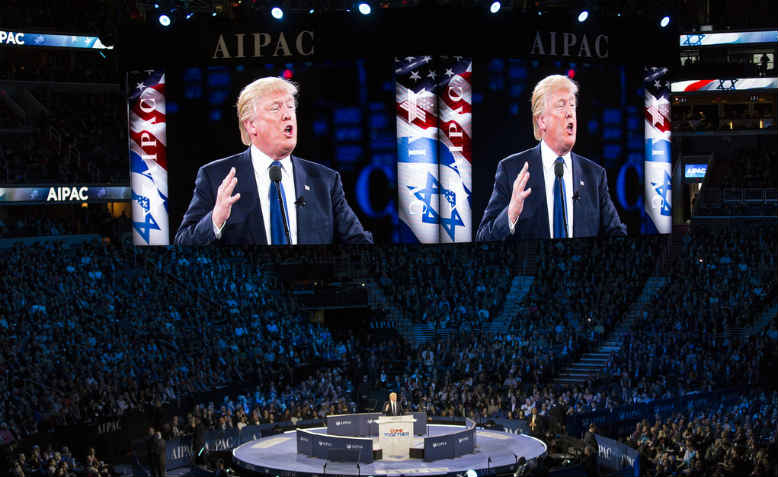 Trump addresses AIPAC. Photo:Flickr/Lorie Shaull