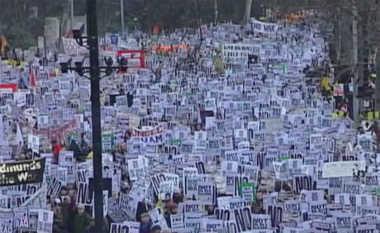 February 15th 2003 anti Iraq war protest, London. Photo: Youtube