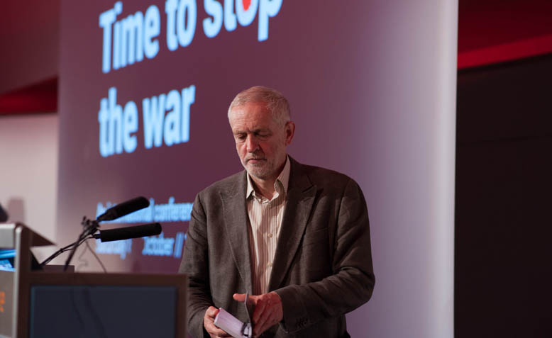 Jeremy Corbyn speaking at '15 Years On: Time to Stop the War' meeting at TUC Congress House. Photo: Jim Aindow