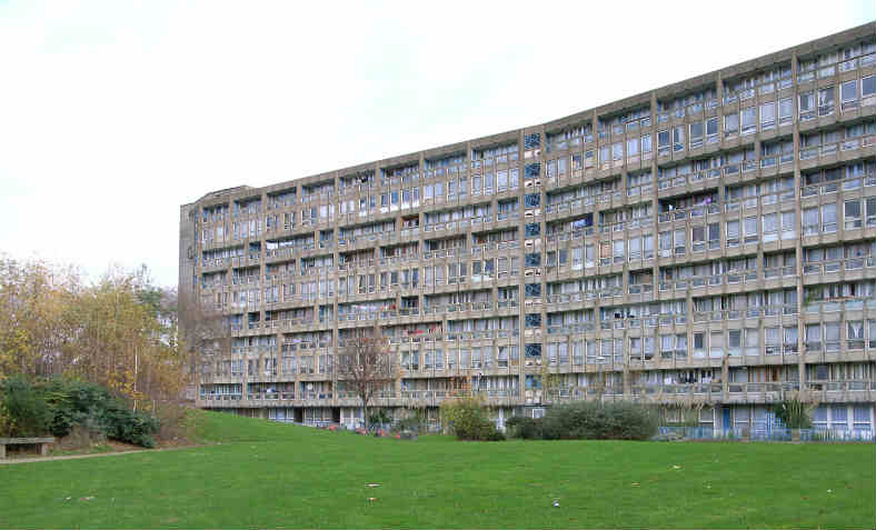 Robin Hood Gardens residential estate in Poplar, London. The demolition of the block began in December 2017.