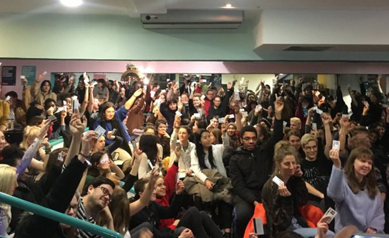 Goldsmiths students voting to support UCU strikes. Photo: Goldsmiths Students' Union