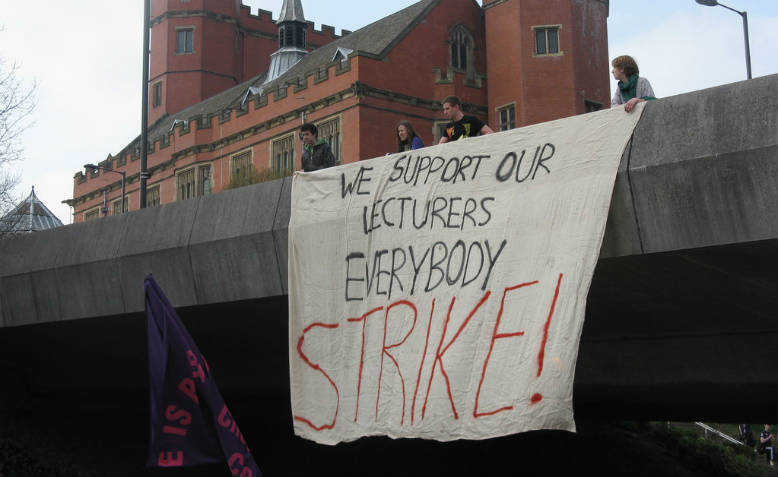 Banner supporting striking lecturers