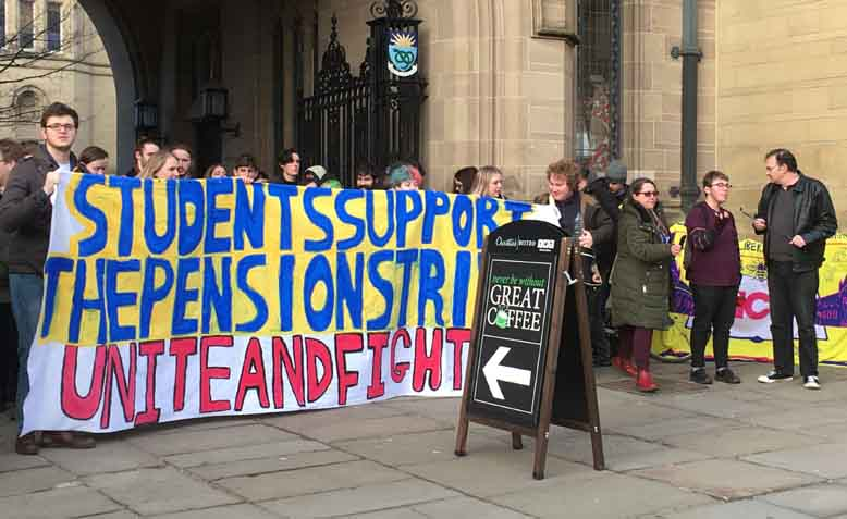 Students in support on the picket line at Manchester University