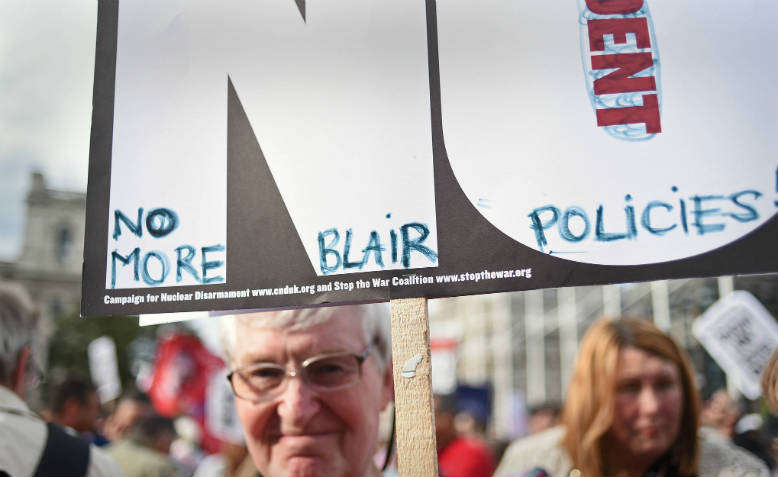 """No Trident, No More Blair Policies"" placard at Keep Corbyn Rally in London 2016. Photo: Jim Aindow"