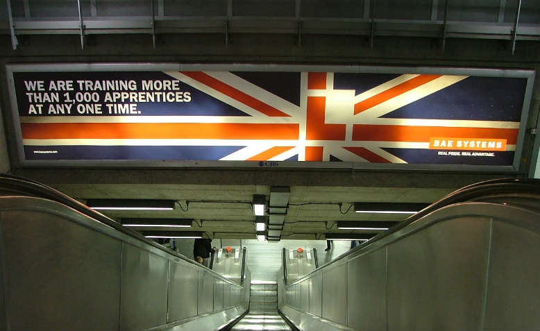 BAE Systems permanent billboard, Westminster Station. Photo: Flickr/Campaign Against The Arms Trade
