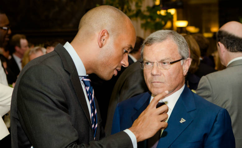 Chuka Umunna with Martin Sorrell, founder of world's largest PR group, at the Financial Times summer party 2014. Photo: Flickr/Financial Times