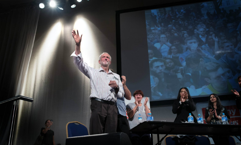 Jeremy Corbyn speaks at a rally in support of his leadership in Kilburn, London, 21 August 2016. Photo: Jim Aindow