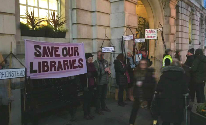 SOLE (Save our Libraries Essex) Demonstration at ColchesterTown Hall on Friday 1 February. Photo: Clare Marsh