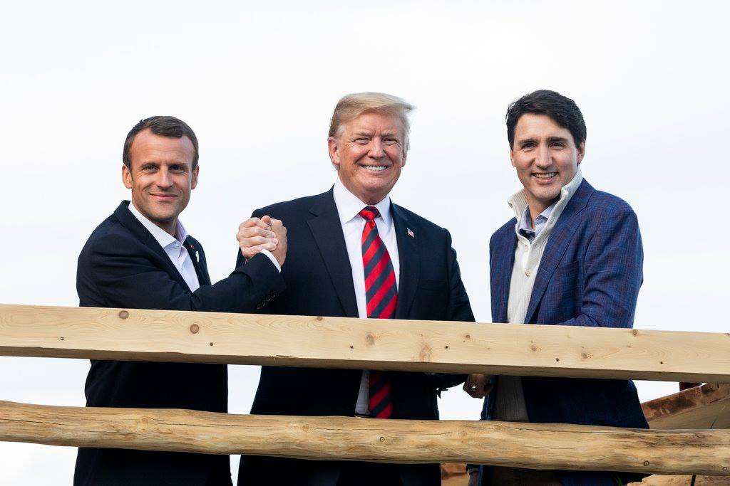 Emmanuel Macron with Donald Trump and Justin Trudeau in La Malbaie, Quebec, 2018. Photo: wikimedia commons