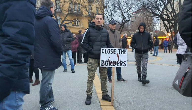 Anti-refugee protests in Subotica. Source: Pannon RTV/Scheller Endre
