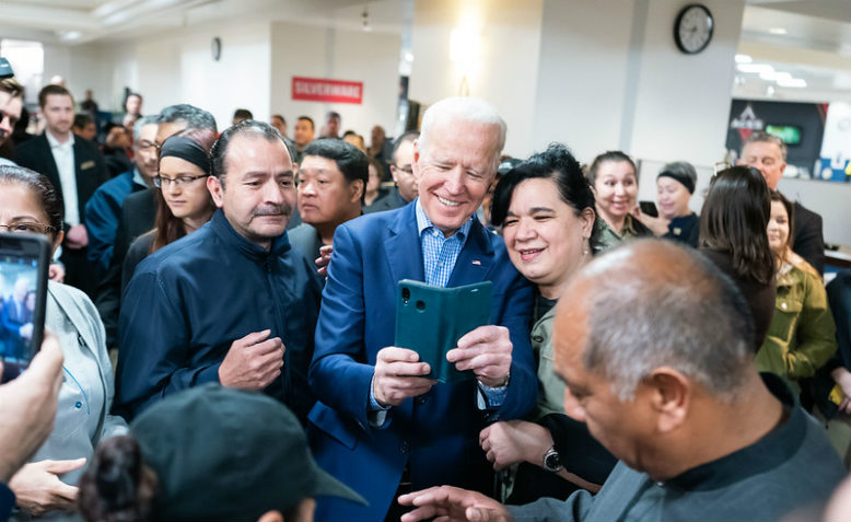 Biden on campaign in Las Vegas, February 2020. Photo: Adam Schultz via flickr