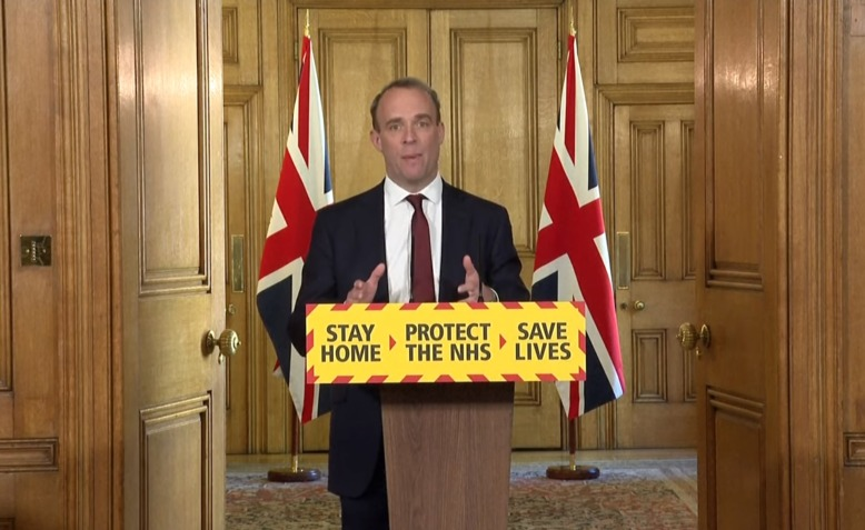 Dominic Raab delivers Covi-19 briefing, 5 May 2020. Photo: Number 10 via Youtube