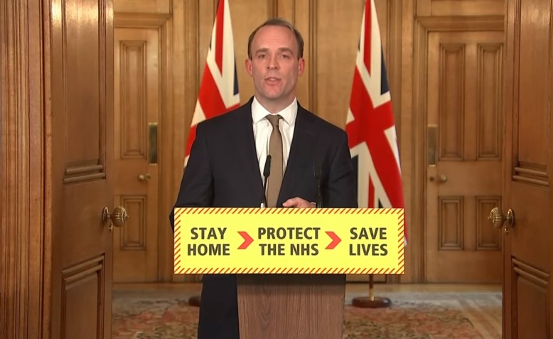 Dominic Raab delivers Covid-19 briefing 7 April. Photo: Number 10 via Youtube