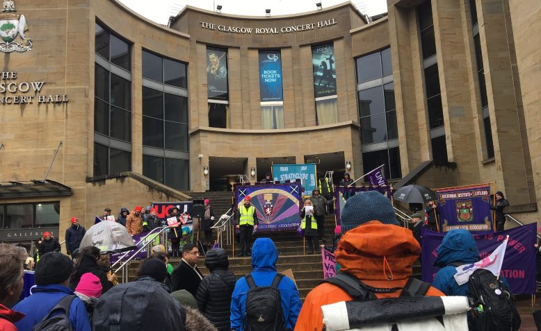 Glasgow UCU rally, 12 March 2020. Photo: Glasgow UCU via twitter