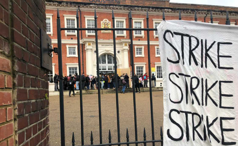 Goldsmiths University picket line. Photo: Chris Nineham