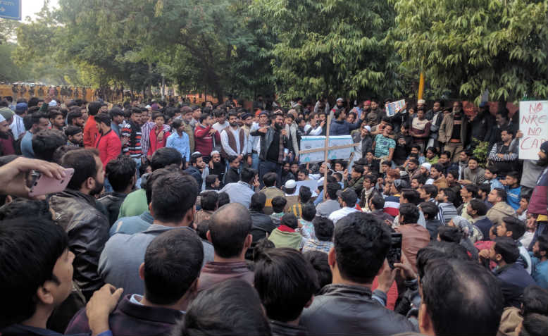 Students at JMI university protest against the CAA, New Delhi. Photo: Wikimedia Commons