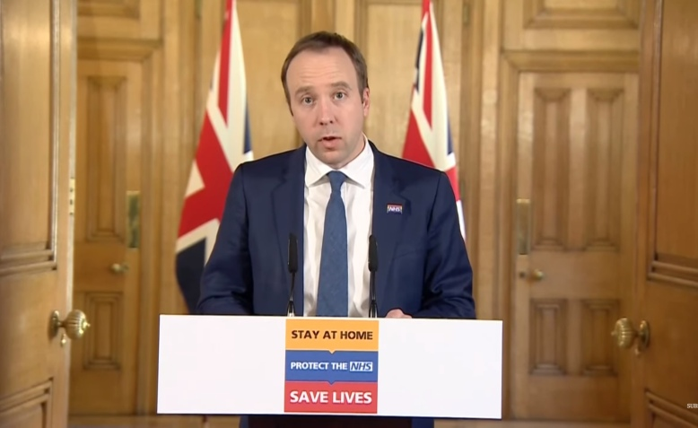 Matt Hancock delivers Covid-19 briefing, 24 March 2020. Photo: Number 10 via youtube