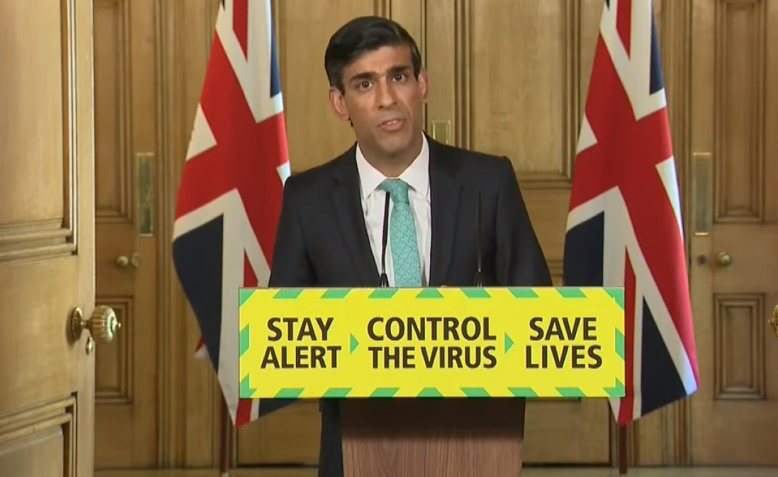 Rishi Sunak delivers the daily coronavirus briefing, 29 May 2020. Photo: Number 10 via Youtube