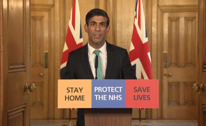 Rishi Sunak giving a daily briefing in place of Boris Johnson, 26 March. Photo: Number 10 via youtube
